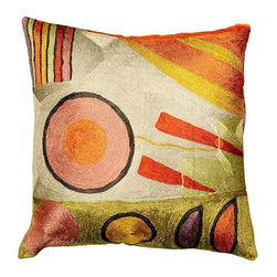 """Modern Silk - Kandinsky Soul Flood&Decorative Pillow Cover Hand Embroidered 18"""" x 18"""" - Modern Artist Wassily Kandinsky used the form of concentric circles to portray the soul. Here, the Kashmiri handcrafted interpretation of Kandinsky's Composition VI has elements of seed, of ovum, of birth and rebirth, the latter of which was a central theme in the composition. Rendered here as chain stitch embroidery in art silk, this cushion cover can create a new personality for any room in which you choose to use it."""