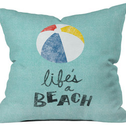 DENY Designs - Nick Nelson Lifes A Beach Throw Pillow - Wanna transform a serious room into a fun, inviting space? Looking to complete a room full of solids with a unique print? Need to add a pop of color to your dull, lackluster space? Accomplish all of the above with one simple, yet powerful home accessory we like to call the DENY throw pillow collection! Custom printed in the USA for every order.