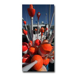 """Lobster Buoys Orange - Canvas, 24x16x3 - Yikes! If you want something to """"pop"""" off your wall, consider this piece. The key to this image is the perspective gained by using a good fisheye lens. (Perhaps it should be renamed here as a Lobster Lens.) By burying the camera into the floats you get this great explosive view."""