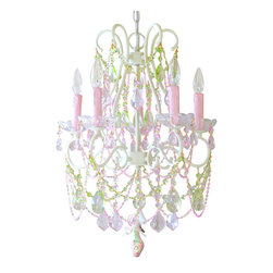 5 Light Diva Crystal Chandelier - This exceptional vintage-inspired 5-light chandelier has been painted ivory and dressed with a delightful combination of Pink and Green crystal prisms. It is draped with long sparkly crystal chains and decorated with plenty of teardrop prisms, fancy-cut French pendants and large glass bobeches. As a special touch, an adorable High heel slipper shoe in pinks and greens hangs off the bottom of the chandelier. Fit for a Diva!