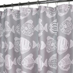 Watershed - Watershed Fish School Shower Curtain - FISC40-ASW - Shop for Shower Curtains from Hayneedle.com! Make your shower more fun with the Park B Smith Fish School Shower Curtain. This shower curtain comes in a variety of color options all with a charming all-over fish design you'll love. This shower curtain is made of quick-drying machine-washable polyester fabric that requires no liner is resistant to mold and allergies and features small grommets for easy hanging plus weights at the bottom to keep it in place.