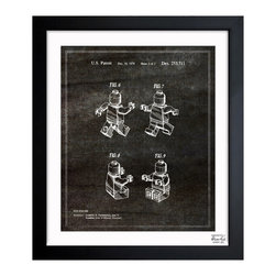 "The Oliver Gal Artist Co. - 'Lego Toy Figure #2, 1979 Noir' Framed Wall Art 26"" x 32"" - Who says Legos are just for kids? The iconic toy comes to life in sophisticated fashion with this framed blueprint inspired by the original patent drawing. Choose from three sizes to fit your room and pay homage to the classic toy design."