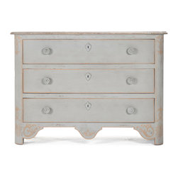 Kathy Kuo Home - Patric Swedish Gustavian Style Painted Chest Dresser - Swedish Gustavian meets French Country in this three drawer chest.  A smooth pine top contrasts with a distressed finish on the front, back and sides, revealing faint hand-painted embellishments in gold.  True vintage grandeur.