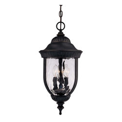 Savoy House - Savoy House 5-60328-186 Castlemain Hanging Lantern - An incredibly versatile and economical group with Clear Watered glass, available in a variety of sizes, plus post and hanging. Also available in Energy Star with Tuscan glass. Black with Gold finish and Clear Hammered glass.