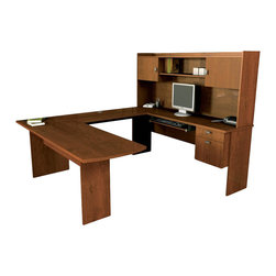 "Bestar - Bestar Omega U-Shape Executive Desk in Tuscany Brown - Bestar - office Sets - 5241863 - The Bestar Omega U-Shape Executive Desk is a functional and resistant workstation that offers an inviting space. Its rich Tuscany brown finish with large work surfaces are optimum for productivity. The Omega desk has 1""-thick durable commercial-grade melamine work surfaces and plenty of storage for an ergonomic work environment."