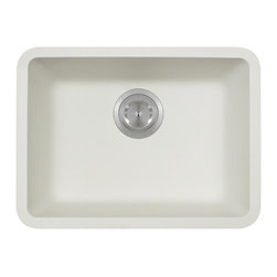 "MR Direct - Small Single Bowl TruGranite Sink - The TruGranite 818-White white small single bowl undermount sink is made from a granite composite material that is comprised of 80% Quartzite and 20% Acrylic. Silver ions are added to the sink during the manufacturing process that kill 99% of bacteria on contact.  Aside from being anti-bacterial, the 818-White is stain and scratch resistant and can resist heat up to 550 degrees. The overall dimensions of the sink are 19 3/4"" x 14 7/8"" x 6 5/8"" and a 21"" minimum cabinet size is required. The sink contains a 3 1/2"" offset drain and is available in multiple colors. As always, our TruGranite sinks are covered under a limited lifetime warranty for as long as you own the sink."