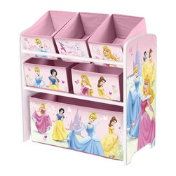 Adarn Inc - Pink Little Children Girls Princess Toy Storage Organizer Box Toddler Furniture - This newly designed Disney Multi-Bin Organizer is the perfect storage item to keep your child's toys in order. Featuring all of your daughter's favorite Disney Princess characters. With a brand new sophisticated color scheme, and six uniquely sized storage boxes, this organizer makes cleaning up easy and exciting. Meets all JPMA safety standards. Some assembly required. Compliments other Disney Princess item sold separately.
