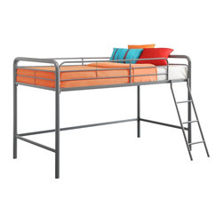 Dorel Home Products - DHP Junior Loft Bunk - This junior metal loft bed by DHP is perfect for any child in your house. Fitting for smaller rooms,the space-saving metal frame design of this loft bed is durable and solid through years of use.