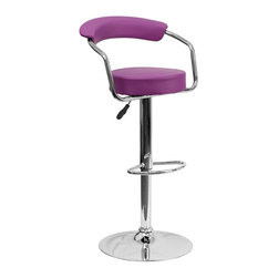 Flash Furniture - Flash Furniture Barstools Residential Barstools X-GG-RUP-0601-3CT-HC - This dual purpose stool easily adjusts from counter to bar height. This retro style stool with arms will look great around the bar or kitchen. The easy to clean vinyl upholstery is an added bonus when stool is used regularly. The height adjustable swivel seat adjusts from counter to bar height with the handle located below the seat. The chrome footrest supports your feet while also providing a contemporary chic design. [CH-TC3-1060-PUR-GG]