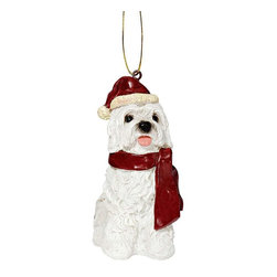 "EttansPalace - Maltese Holiday Dog Ornament Sculpture - With a festive Santa hat and red scarf, this adorable Maltese dog ornament has neither a ""bark"" nor a ""bite"" worth worrying over! Our Maltese dog ornament is realistically sculpted, cast in quality designer resin and hand painted for the ""discriminating dog lover"". The perfect canine gift for Maltese dog aficionados and a fun way to include your pets in holiday decorating! Approx. 2.5""W x 1.5""D x 3.5""H. .5 lb."