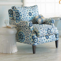 Savoy Chair - This comfortable armchair mixes cushy and high style. The upholstery is a gorgeous blue pattern that resembles a suzani, the legs are alderwood.