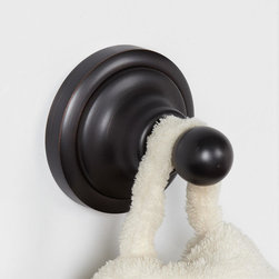 Holliston Robe Hook - A simple way to hang robes, the Holliston Collection Robe Hook displays a classic design with the knob style hook and circular backplate.