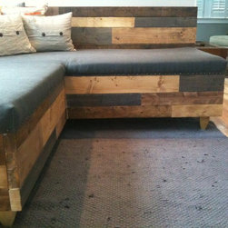 Custom Reclaimed Wood Modern Industrial Sofa -