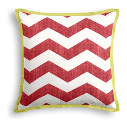 Red & White Chevron Tailored Pillow - The Tailored Throw Pillow is an updated, contemporary pillow style with the center fabric framed by a thin contrast flange.  Voila…it's artwork for your couch!  We love it in this graphic chevron in a washed berry red & ivory on lightweight linen adds a punch of color to the contemporary home.
