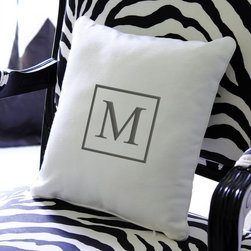 Cathys Concepts - Cathys Concepts Square Accented Personalized Throw Pillow Multicolor - SI-3109 - Shop for Pillows from Hayneedle.com! The Cathys Concepts Square Accented Personalized Throw Pillow provides a striking accent to your modern living room or bedroom decor. Its square shape features a soft white cotton canvas cover and features plush polyester filling. The cover is available with a monogrammed accent your choice of block initial within a gray square. The pillow is machine-washable for convenience; use a delicate cycle on cold and hang dry. A perfect complement to any bed sofa or chair to mark your signature on your decor.About Cathy's ConceptsA leading business-to-business manufacturer and distributer of personalized gifts and wedding accessories Cathy's Concepts was founded in 1988 by Cathy LaValley and is headquartered in Indianapolis Indiana. With over two decades of experience in innovative product development as well as personalizing packaging and shipping experience the people at Cathy's Concepts pride themselves on creating and maintaining higher standards greater opportunities and tailored business solutions to fit all their customer's needs.
