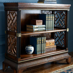 "John-Richard Collection - Lattice Bookcase - Stylish and functional, this Asian-inspired bookcase with mortise and tenon construction is designed with beautiful carved lattice designs on either side.Hand-applied walnut finish has golden highlights. 33""W x 14""D x 32""T."