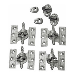 Renovators Supply - Shutter Hinges Gray Cast Iron Shutter Hinge 2 1/2 x 3 1/8'' Acme | 21204 - Shutter Hinge. These Acme- Lull & Porter Mortise Shutter Hinges measure 2-1/2 in. high x 3-1/8 in. wide. Made of cast iron these hinges are sturdy and are designed so they cannot be lifted off by the wind. The set includes enough harware for one window: 2 left-handed hinges- 2 right-handed hinges- 2 sets of fasteners. Mounting screws not included.