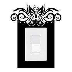 StickONmania - Lightswitch Butterfly Motif #1 Sticker - A vinyl sticker decal to decorate a lightswitch.  Decorate your home with original vinyl decals made to order in our shop located in the USA. We only use the best equipment and materials to guarantee the everlasting quality of each vinyl sticker. Our original wall art design stickers are easy to apply on most flat surfaces, including slightly textured walls, windows, mirrors, or any smooth surface. Some wall decals may come in multiple pieces due to the size of the design, different sizes of most of our vinyl stickers are available, please message us for a quote. Interior wall decor stickers come with a MATTE finish that is easier to remove from painted surfaces but Exterior stickers for cars,  bathrooms and refrigerators come with a stickier GLOSSY finish that can also be used for exterior purposes. We DO NOT recommend using glossy finish stickers on walls. All of our Vinyl wall decals are removable but not re-positionable, simply peel and stick, no glue or chemicals needed. Our decals always come with instructions and if you order from Houzz we will always add a small thank you gift.