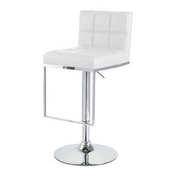 "Vandue - Alex Contemporary Adjustable Barstool, Vanilla White - The Alex bar stool is an ultimate modern yet clean design that fits well in any environment. The accommodating seat is padded for extra comfort and is covered in soft faux leather. A backrest rises  from the back of the seat giving added support. The Alex is definitely a relaxing place to sit, even after long periods of use. The seat sits on top of a slender chrome stem and has an attached footrest plated in chrome. This stool also comes with an adjustable height gas lift and 360 degree swivel mechanism, with a sturdy circular base that has a rubber ring beneath to protect your floor. The universal design of the Alex means it matches any type of decor and fits in perfectly with other items of furniture, making it ideal in a home kitchen or breakfast bar. Each barstool can swivel 360 degrees and comes complete with an adjustable gas lift tested to operate at least 100,000 times! Measures 15"" wide by 18.1"" deep. The backrest rises 15"" above the seat height. The base has a 16.1"" diameter. The seat height adjusts from 24.8"" to 33.5"" in height. The overall height adjusts from 36.2"" to 44.9"" (table to counter/bar height). We have the best quality barstools of this type. Don't settle for a cheap imitation made of inferior materials. We are so confident in the durability of our product that we offer a 5 year warranty on the strut performance on all our barstools that we sell."