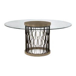 Kathy Kuo Home - Pablo Global Bazaar Gold Shagreen Glass Black Round Dining Table - One of the greatest misconceptions about Global Bazaar style furnishings is the idea that the looks can't be sleek and modern.  This gold shagreen, glass and metal circular dining table puts that myth to rest and then some.  The circular base features an airy metal framework pattern evocative of feathers and scales - creating a strong midcentury modern feeling. On top, the attractive contrasts of tactile shagreen and smooth glass.