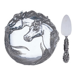 Arthur Court - Horse Plate with Cheese Server - Galloping Gruyère! This beautiful plate and server will elevate your next cheese course to blue ribbon status. This 8-inch plate features regal horses and wheat cast in aluminum and the flat server has a knotted rope handle. With a set this fine, even Limburger may win by a nose.