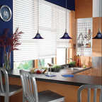 """Bali® Wood Images 2"""" Composite Wood Blinds - Bali® Wood Images 2"""" Composite Wood Blinds capture the essence and look of real wood blinds, while the moisture resistant slats are perfect for high humidity areas like bathrooms and kitchens.  The advanced polymer coating is also resistant to scratches and dents, making them perfect for high-usage applications.  Popular solid whites and off-whites as well as streaked colors can brighten any decor.  These fine blinds carry a Limited Lifetime Bali Warranty against defects."""