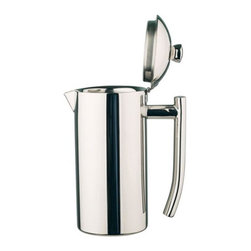 Frieling - Stainless Steel Midi Platinum Beverage Server - This server with hinged lid is ideal for all beverages including coffee, tea, hot chocolate, milk, water and juice. It is double wall insulated for optimum heat/cold retention.Beautiful mirror finish 18/10 stainless steel. Features: -Beverage Server. -Double wall construction. -High quality hinged lid. -18/10 stainless steel. -41 fl. oz. -Dishwasher safe (no need to disassemble.