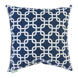 Majestic Home - Indoor Navy Blue Links Large Pillow - Talk about a chain reaction. This pillow, made of durable cotton twill, has a fresh and fabulous pattern to add dash to your favorite modern setting.