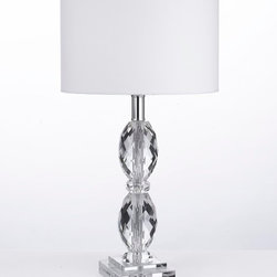 gallery - Faceted Crystal Table Lamp with Shade - Magnificent faceted crystal table lamp will add elegance to any room !