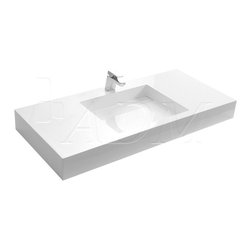 ADM - ADM White Wall Hung Stone Resin Sink, Matte - DW-192