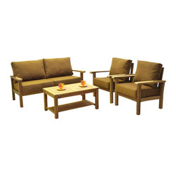 International Home Miami - Amazonia Teak Gilli 4 Piece Teak Deep Seating Set w/ Sunbrella Cushions - Gilli 4 Piece Teak Deep Seating Set w/ Sunbrella Cushions belongs to Amazonia Teak Collection by International Home Miami Great Quality, elegant design patio set, made of 100% high quality Teak wood. Enjoy your patio with style with these great sets from our Amazonia Teak outdoor collection  Sofa(1), Armchair (2), Coffee Table (1)