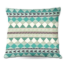 DiaNoche Designs - Pillow Woven Poplin by Nika Martinez - Mint Native Forest - Toss this decorative pillow on any bed, sofa or chair, and add personality to your chic and stylish decor. Lay your head against your new art and relax! Made of woven Poly-Poplin.  Includes a cushy supportive pillow insert, zipped inside. Dye Sublimation printing adheres the ink to the material for long life and durability. Double Sided Print, Machine Washable, Product may vary slightly from image.