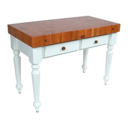 John Boos - Rectangular Table in Standard Varnique Finish - Choose Size: 30 in. x 24 in.4 in. Thick cherry end grain top with boos block cream finish with beeswax. 34.5 in. Overall height. Pictured in White base. Standard Varnique finish