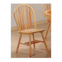 Coaster - Damen Arrow Back Windsor Side Chair - Set of - Set of 4. Casual style. Smooth clean lines. Simple turned legs. Made from solid wood. Warm natural finish. 18 in. W x 18 in. D x 38 in. H. WarrantyThis lovely Windsor style dining side chair will be a wonderful addition to your casual dining room ensemble. This chair will blend nicely with your home decor. Beautiful turned wood details, classic styles, and comfortable chairs make these chair must-haves for your home.