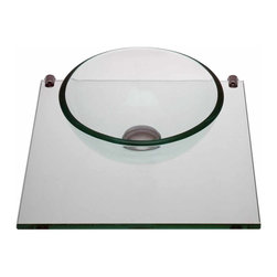 Renovators Supply - Glass Sinks Clear Glass Mini Sink Mystic Plateau Wall Mount | 12836 - Mystic Plateau: Miniature wall mount tempered glass vessel sink. Small and space saving mini sink. Uses a wall-mount faucet not included--check our huge selection. Counter 16 5/8 inch wide x 16 1/2 inch projection Bowl 11 3/4 inch in diameter x 4 inch deep.