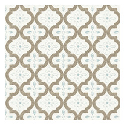 Tan & Aqua Quatrefoil Trellis Sateen Fabric - Seafoam & taupe quatrefoil pattern on a soft sateen reflects the essence of classic Moroccan tilework.Recover your chair. Upholster a wall. Create a framed piece of art. Sew your own home accent. Whatever your decorating project, Loom's gorgeous, designer fabrics by the yard are up to the challenge!