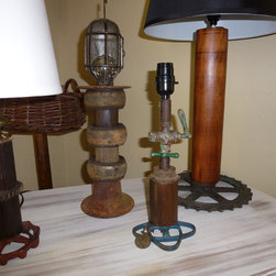 Industrial Lamps Created From Salvaged Items - Karen Gatzke