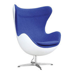 Wool Oeuf Lounge Chair in Blue - As the composer of your own life, the sky's the limit. Featuring a molded fiberglass frame exterior and a 100% wool fabric interior, the future looks bright when you're cocooned in this lounge chair.