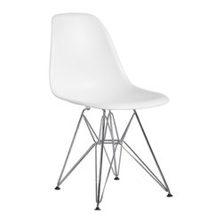 "Hampton Modern - Plastic Side Chair in White with Wire Base - This metal based side chair serves well as a dining chair or as a stand alone accent chair, with a plastic seat that flexes just enough to make it comfortable. Seat height 18""."
