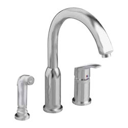 American Standard - Arch Single Handle Side Sprayer Kitchen Faucet in Stainless Steel - American Standard 4101.301.075 Arch Single Handle Side Sprayer Kitchen Faucet in Stainless Steel. The American Standard Arch Single-Handle Side Sprayer Kitchen Faucet in Stainless Steel has a memory position valve that makes it possible to pre-set the water temperature setting without having to readjust the handle each time. The high-arc spout allows for greater accessibility to the sink for easier cleaning or for filling large pots. A matching side sprayer has a variety of uses, from washing vegetables to spraying down the sink.American Standard 4101.301.075 Arch Single Handle Side Sprayer Kitchen Faucet in Stainless Steel, Features:Stainless Steel finish creates a bright look that complements most kitchen decorating schemes