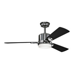 """Kichler - Contemporary 48"""" Kichler Celino Midnight Chrome  Ceiling Fan - Kichler's Celino ceiling fan employs universal shape to result in a modern aesthetically pleasing and versatile lighting fixture. It features a brilliant midnight chrome finish with cased opal glass and three satin black blades. Integrated light kit. Easily get just the right performance with the full function CoolTouch remote control system. 6"""" downrod included. (IMAP)  Midnight chrome finish motor  Satin black blades.  48"""" blade span.   14 degree blade pitch.  Cased opal glass light kit.   From the Kichler lighting collection.  Uses two 50 watt halogen JD-E11 bulbs (included).   CoolTouch remote control included.   Fan height 11 3/4"""" blade to ceiling (with 6"""" downrod).  Fan height 15 1/4"""" ceiling to bottom of light kit (with 6"""" downrod).  6"""" downrod included."""