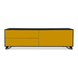 STUDIO COPENHAGEN - Boomerang Black-Yellow Special Edition Lowboard Medium - The Boomerang Lowboard is now available in a variety of pastel colors. With design by Danish designer Tobias Jacobsen, the Boomerang combines classic minimalism with contemporary shades. Featuring Italian fittings and push-open drawers, the Boomerang Lowboard is a high-quality way to provide living room storage.