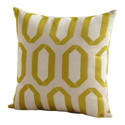 Cyan Design - Cyan Design Lime Light Pillow X-71560 - An ivory backdrop provides the perfect compliment to the trendy tones of lime green on this Cyan Design pillow. From the Lime Light Collection, this decorative pillow is a great way to add interest to a bedroom, living area or other area without overwhelming the space.