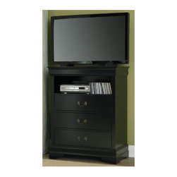 Homelegance - 3-Drawer Wood TV Chest in Black (Black) - The Marianne Collection is the best of both comfortable style and simplicity.