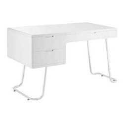 "LexMod - Swing Office Desk in White - Swing Office Desk in White - Everything about this desk suggests that it shouldnt be relegated to an office. Even the form of the tubular chrome legs is expressive and untethered. But the beauty of Swings design is that the work that is done, the tasks that are completed, have no chance but to become more creative and inspired. Constructed of fiberboard with a high finish and two left-sided storage drawers and a pull-out tray, Swing is perfect for office settings that seek to redefine what an office should and could become. Set Includes: One - Swing Office Desk Modern office desk, Chrome legs, Durable Fiberboard construction, High gloss finish Overall Product Dimensions: 47""L x 23.5""W x 30.5""H Left inner drawer dimensions: 16.5""L x 13.5""W x 3.5""H Right inner drawer dimensions: 19""L x 13.5""W x 1""H Space between left drawer and legs: 26""L Floor to underneath right drawer: 25.5""H - Mid Century Modern Furniture."