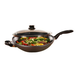 """Swiss Diamond - Nonstick Wok with Lid - 12.5"""" - The classic wok is made with Asian cooking in mind - Swiss Diamonds Nonstick Woks are designed for a superior Asian cooking experience. By using cast aluminum we ensure that heating of the pan will be consistent and even, and the diamond reinforced nonstick coating ensures that cleanup will be a breeze. This 12.5 inch wok is perfect for cooking Kung Pao or Hunan Chicken, Tofu Stir-Fry, or any of your Asian favorites. This wok comes with a tempered glass lid, and works well as a chef pan also. Cleanup is easy as well; simply wash with soap and water and our coating will easily release any cooking residue."""