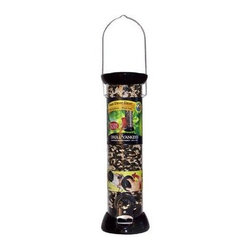 "Droll Yankees - 2 Port Sunflower Mixed Seed - Droll Yankees 2.75"" diameter 12"" tube 2 port sunflower/mixed seed feeder with removable base. Fully assembled. Gloss black with Silver perch accents. Clever clean removable base line"