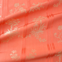 Pagoda Fabric in Coral - Pagoda Fabric in Coral 100% Silk French Coral Print Silk Fabric. The beautiful coral color is complemented with an intricate stripe, floral, and pagoda pattern. This discount designer fabric perfect for drapery and residential, light contract, or decorative upholstery and can be used for chairs, sofas, ottomans, decorative accents & drapery.