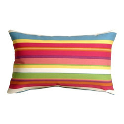 Pillow Decor - Pillow Decor - Waverly Sidewalk Stripe Cancun Outdoor Pillow - The Waverly Sidewalk Stripe Cancun Outdoor Pillow combines bold stripes in pink, fuchsia, turquoise, green, yellow purple, orange and white. The pink and fuchsia dominate. Like candy for the eyes, this fun and colorful striped outdoor pillow shouts 'Fiesta'. Whether you are partying by the pool, on the patio, or just wanting to bring a blaze of color to a sunny room, this pillow will energize any space. Made from Waverly Sun N Shade Indoor/Outdoor fabric, this throw pillow resists mold, mildew, soil and stains and is easily cleaned with a mild soap and water solution.