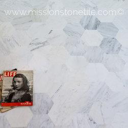 "Marble Hexagons- 8"" Oriental White - BWH2"